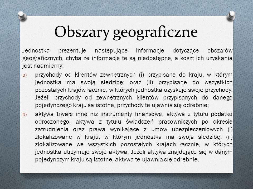 Obszary geograficzne Jednostka prezentuje następujące informacje dotyczące obszarów geograficznych, chyba że informacje te są niedostępne, a koszt ich