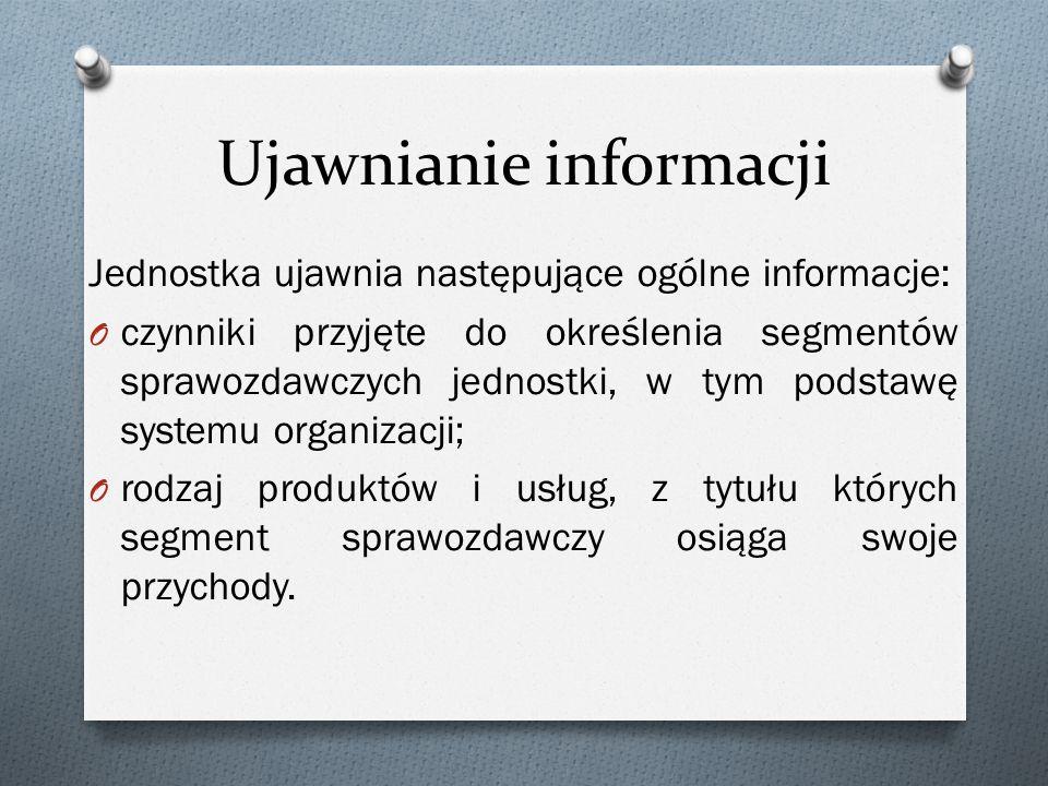 Ujawnianie informacji Jednostka ujawnia następujące ogólne informacje: O czynniki przyjęte do określenia segmentów sprawozdawczych jednostki, w tym po