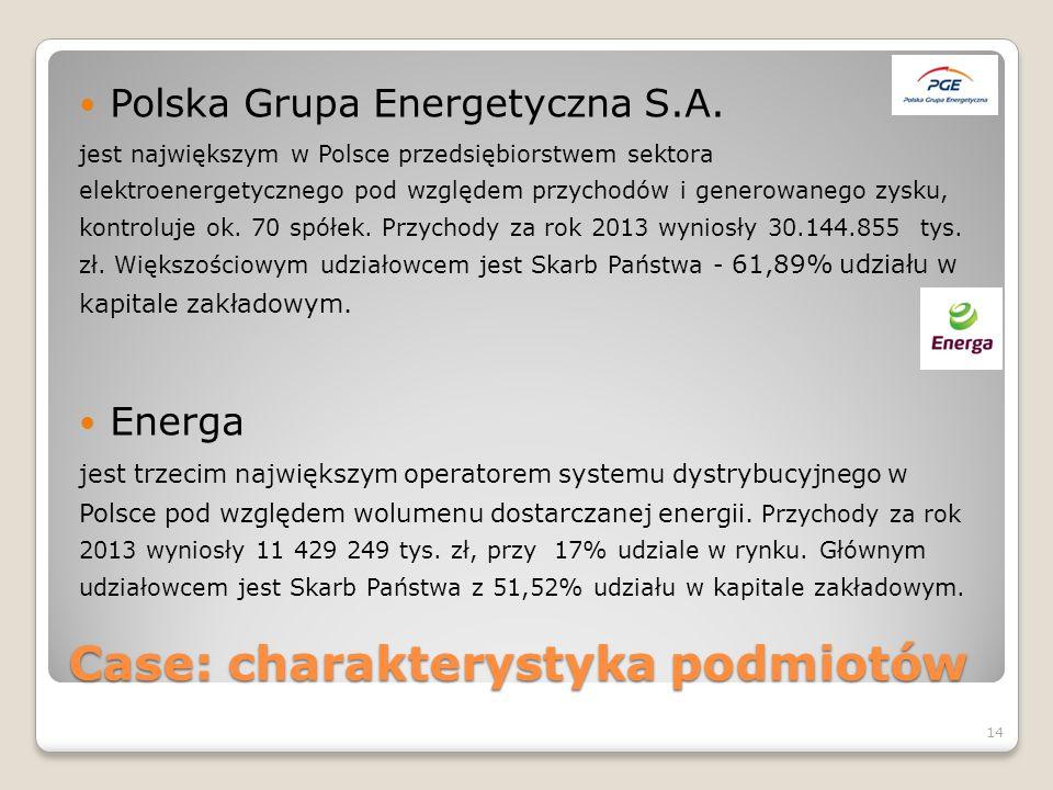 Case: charakterystyka podmiotów Polska Grupa Energetyczna S.A. jest największym w Polsce przedsiębiorstwem sektora elektroenergetycznego pod względem