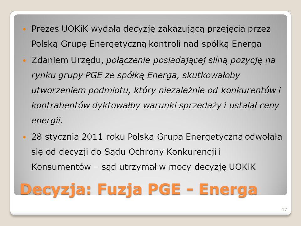 Decyzja: Fuzja PGE - Energa Prezes UOKiK wydała decyzję zakazującą przejęcia przez Polską Grupę Energetyczną kontroli nad spółką Energa Zdaniem Urzędu