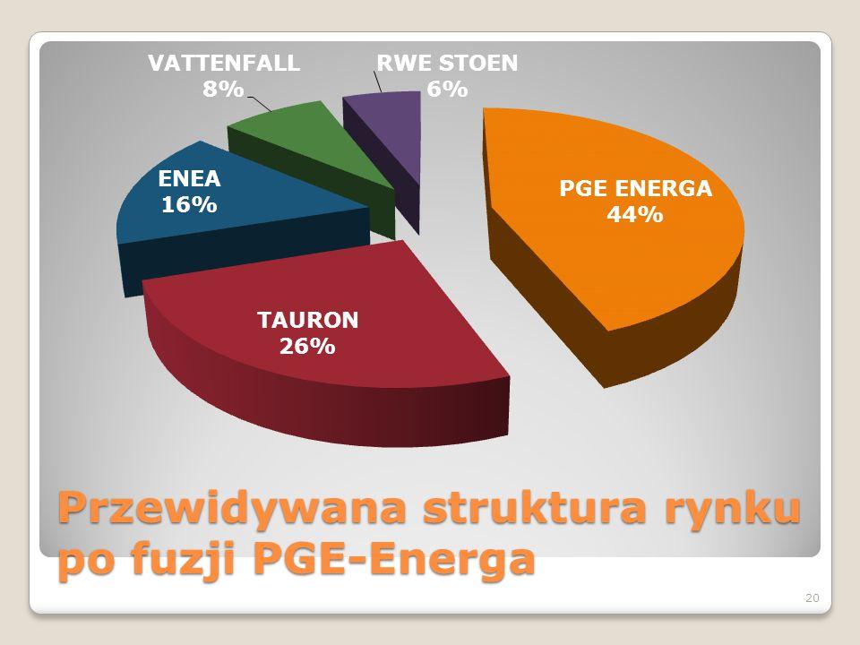 Przewidywana struktura rynku po fuzji PGE-Energa 20