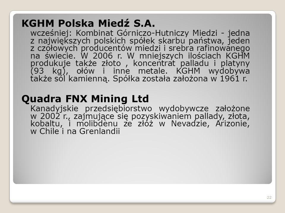 KGHM Polska Miedź S.A. wcześniej: Kombinat Górniczo-Hutniczy Miedzi - jedna z największych polskich spółek skarbu państwa, jeden z czołowych producent