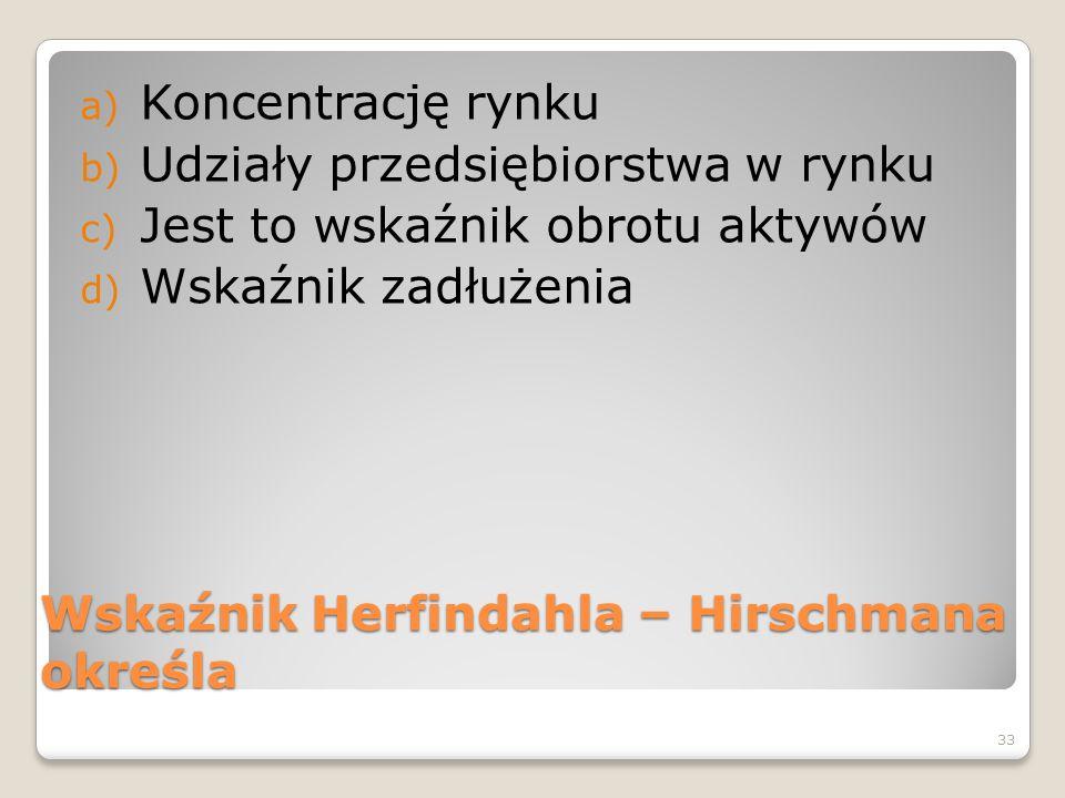 Wskaźnik Herfindahla – Hirschmana określa a) Koncentrację rynku b) Udziały przedsiębiorstwa w rynku c) Jest to wskaźnik obrotu aktywów d) Wskaźnik zad