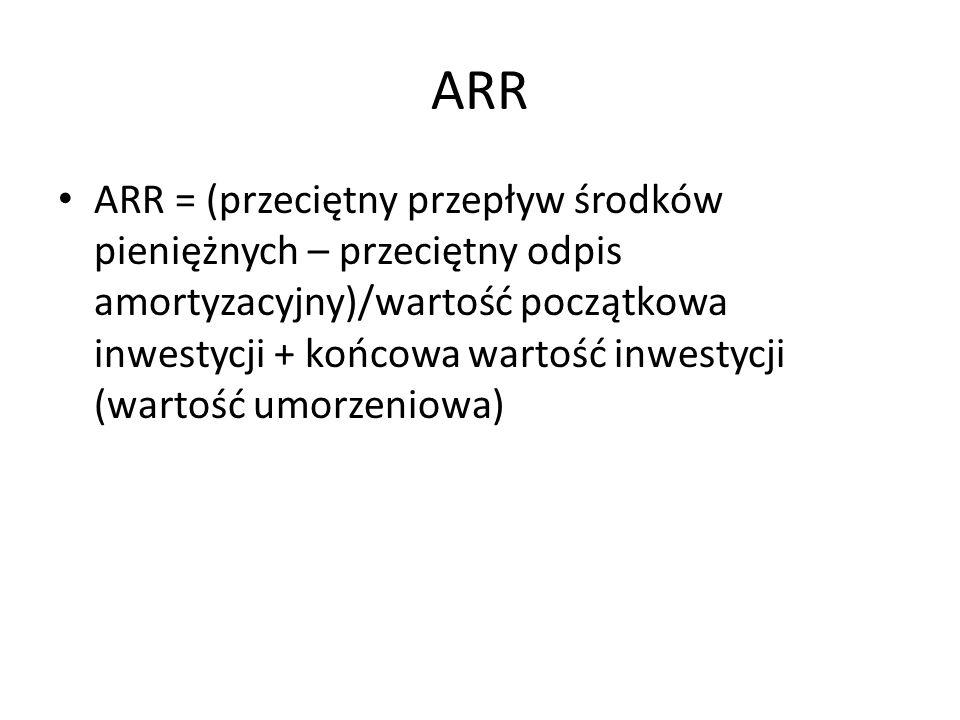 ARR = (przeciętny przepływ środków pieniężnych – przeciętny odpis amortyzacyjny)/wartość początkowa inwestycji + końcowa wartość inwestycji (wartość u