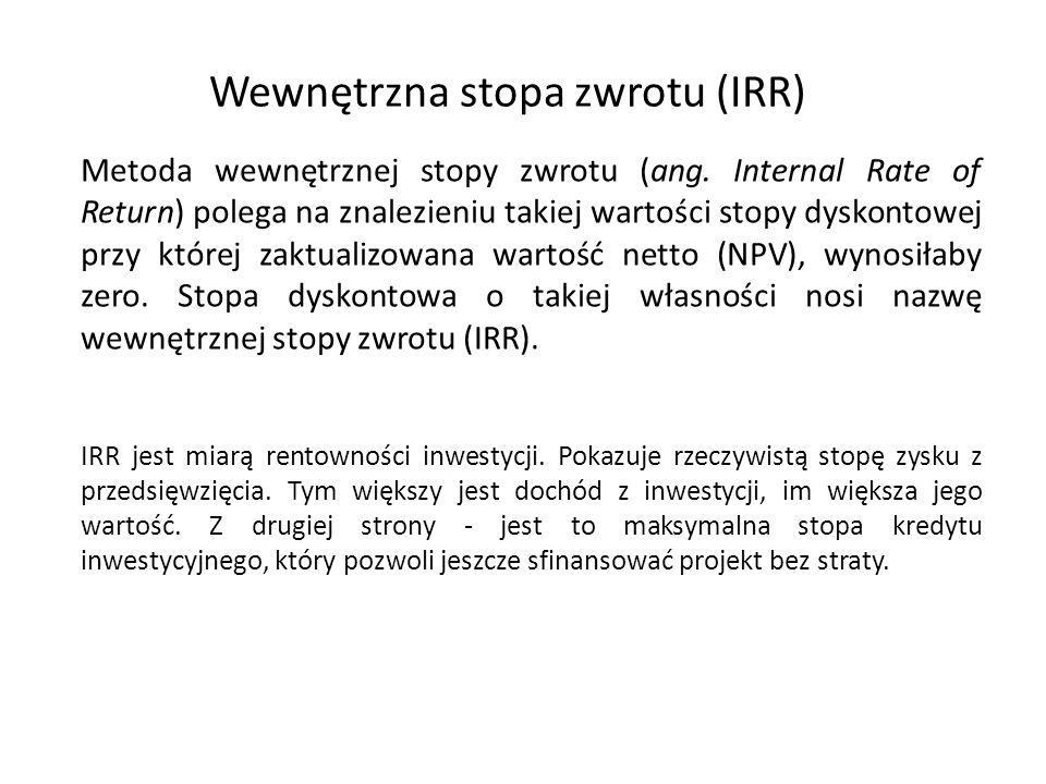 Wewnętrzna stopa zwrotu (IRR) Metoda wewnętrznej stopy zwrotu (ang.