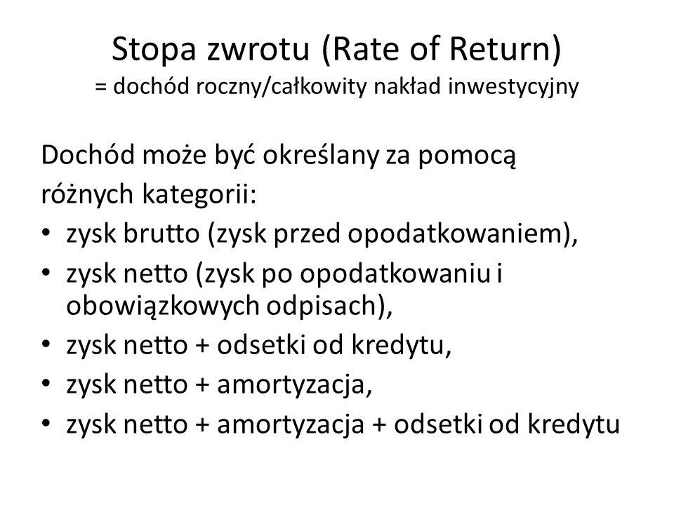 Dochód może być określany za pomocą różnych kategorii: zysk brutto (zysk przed opodatkowaniem), zysk netto (zysk po opodatkowaniu i obowiązkowych odpisach), zysk netto + odsetki od kredytu, zysk netto + amortyzacja, zysk netto + amortyzacja + odsetki od kredytu Stopa zwrotu (Rate of Return) = dochód roczny/całkowity nakład inwestycyjny