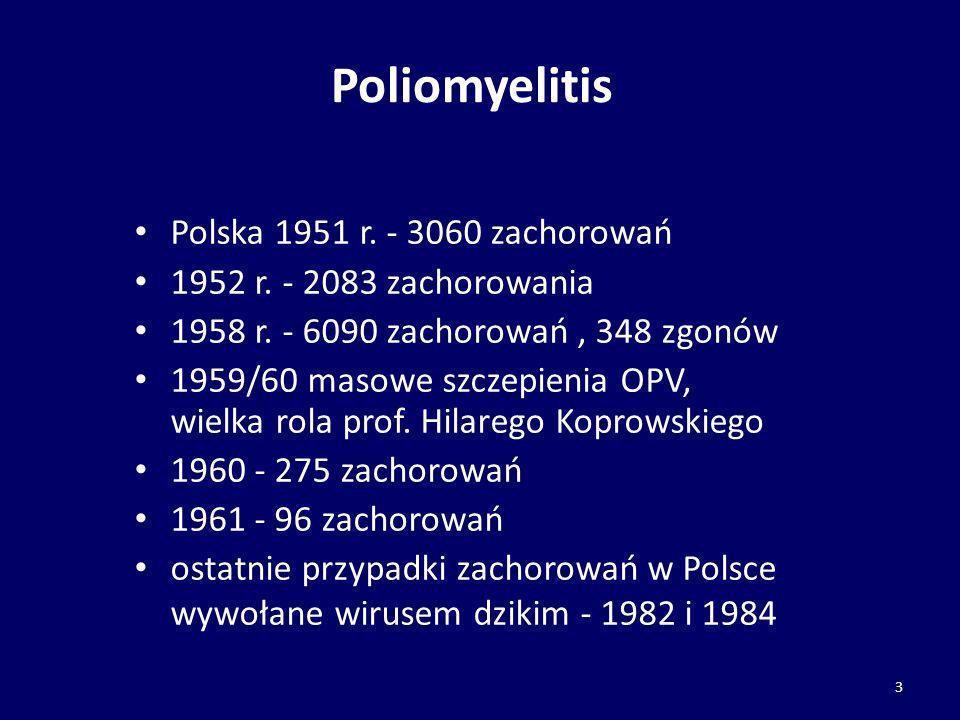 Poliomyelitis Polska 1951 r. - 3060 zachorowań 1952 r. - 2083 zachorowania 1958 r. - 6090 zachorowań, 348 zgonów 1959/60 masowe szczepienia OPV, wielk
