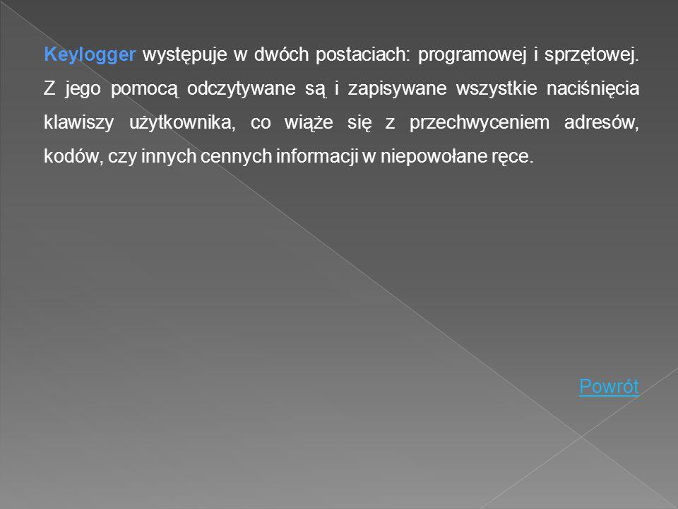 Keylogger występuje w dwóch postaciach: programowej i sprzętowej. Z jego pomocą odczytywane są i zapisywane wszystkie naciśnięcia klawiszy użytkownika