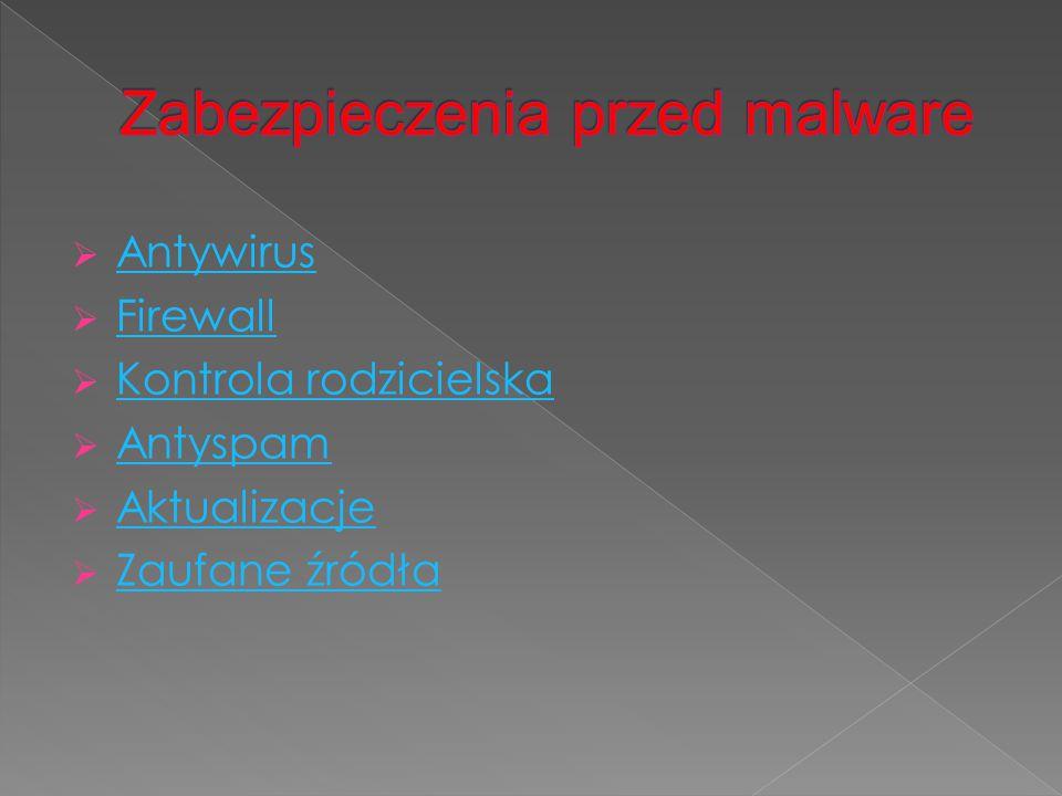  Antywirus Antywirus  Firewall Firewall  Kontrola rodzicielska Kontrola rodzicielska  Antyspam Antyspam  Aktualizacje Aktualizacje  Zaufane źród