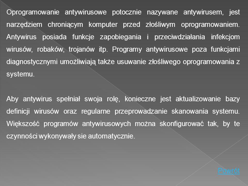 Oprogramowanie antywirusowe potocznie nazywane antywirusem, jest narzędziem chroniącym komputer przed złośliwym oprogramowaniem. Antywirus posiada fun