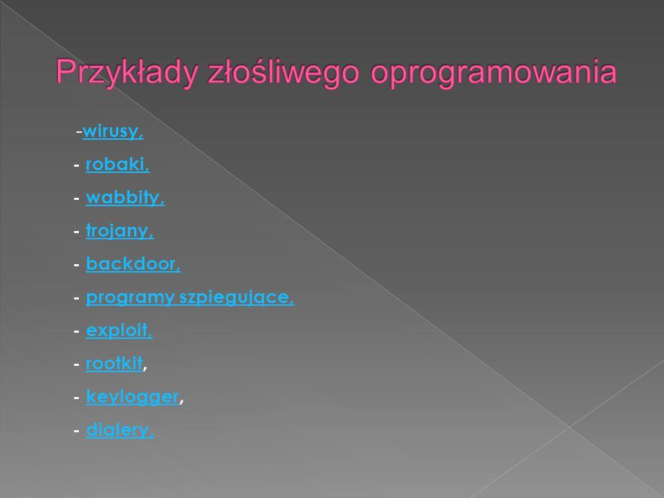 - wirusy, - robaki, - wabbity, - trojany, - backdoor, - programy szpiegujące, - exploit, - rootkit, - keylogger, - dialery, wirusy,robaki,wabbity,troj