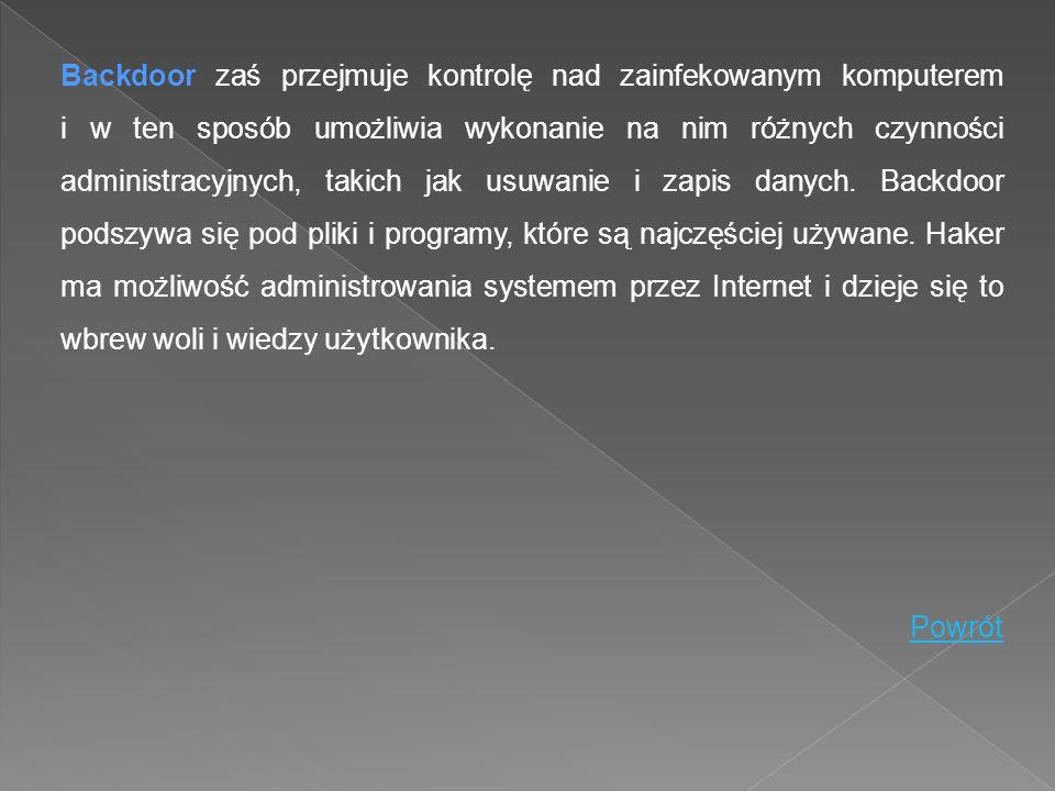 Backdoor zaś przejmuje kontrolę nad zainfekowanym komputerem i w ten sposób umożliwia wykonanie na nim różnych czynności administracyjnych, takich jak
