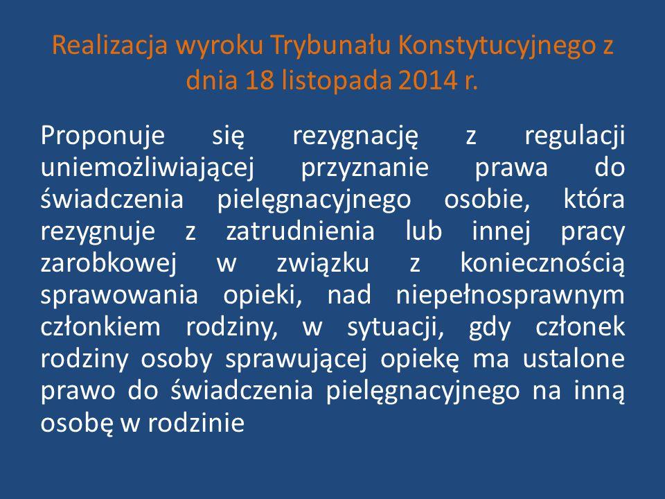 Realizacja wyroku Trybunału Konstytucyjnego z dnia 18 listopada 2014 r. Proponuje się rezygnację z regulacji uniemożliwiającej przyznanie prawa do świ