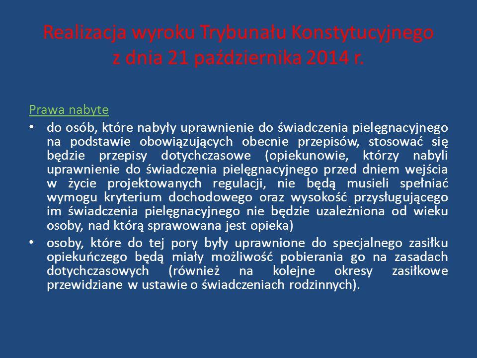 Realizacja wyroku Trybunału Konstytucyjnego z dnia 21 października 2014 r. Prawa nabyte do osób, które nabyły uprawnienie do świadczenia pielęgnacyjne