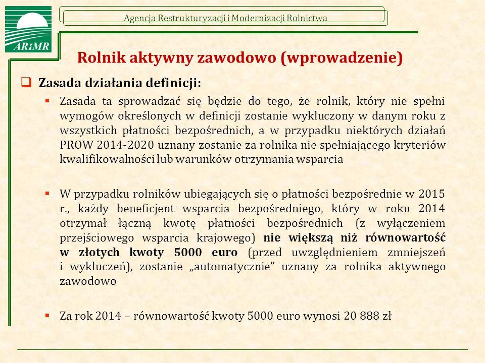 Agencja Restrukturyzacji i Modernizacji Rolnictwa Rolnik aktywny zawodowo (wprowadzenie)  Zasada działania definicji:  Zasada ta sprowadzać się będz