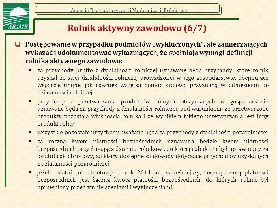 """Agencja Restrukturyzacji i Modernizacji Rolnictwa Rolnik aktywny zawodowo (6/7)  Postępowanie w przypadku podmiotów """"wykluczonych"""", ale zamierzającyc"""