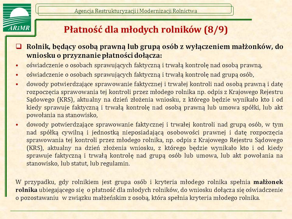 Agencja Restrukturyzacji i Modernizacji Rolnictwa  Rolnik, będący osobą prawną lub grupą osób z wyłączeniem małżonków, do wniosku o przyznanie płatno