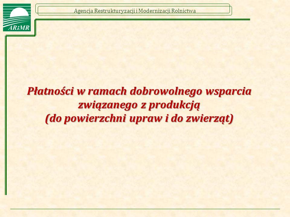 Agencja Restrukturyzacji i Modernizacji Rolnictwa Płatności w ramach dobrowolnego wsparcia związanego z produkcją (do powierzchni upraw i do zwierząt)