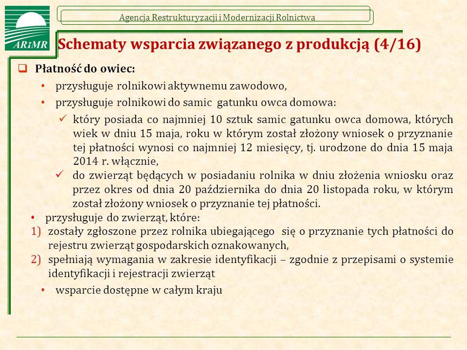 Agencja Restrukturyzacji i Modernizacji Rolnictwa Schematy wsparcia związanego z produkcją (4/16)  Płatność do owiec: przysługuje rolnikowi aktywnemu