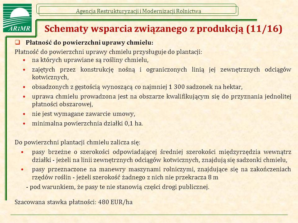 Agencja Restrukturyzacji i Modernizacji Rolnictwa Schematy wsparcia związanego z produkcją (11/16)  Płatność do powierzchni uprawy chmielu: Płatność