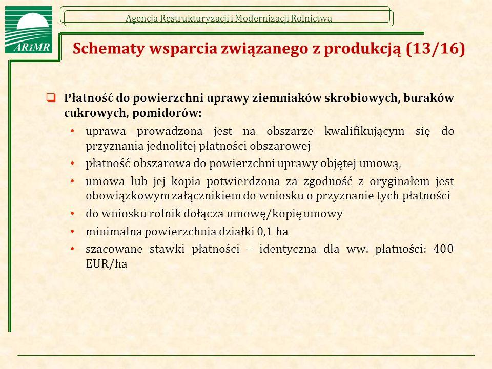 Agencja Restrukturyzacji i Modernizacji Rolnictwa  Płatność do powierzchni uprawy ziemniaków skrobiowych, buraków cukrowych, pomidorów: uprawa prowadzona jest na obszarze kwalifikującym się do przyznania jednolitej płatności obszarowej płatność obszarowa do powierzchni uprawy objętej umową, umowa lub jej kopia potwierdzona za zgodność z oryginałem jest obowiązkowym załącznikiem do wniosku o przyznanie tych płatności do wniosku rolnik dołącza umowę/kopię umowy minimalna powierzchnia działki 0,1 ha szacowane stawki płatności – identyczna dla ww.