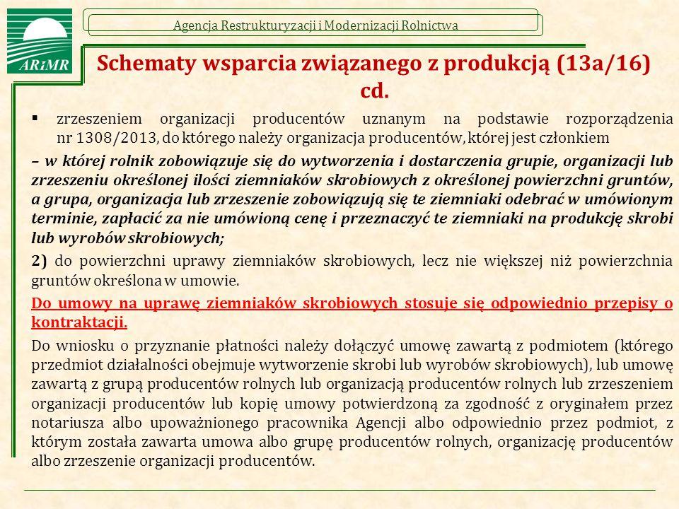 Agencja Restrukturyzacji i Modernizacji Rolnictwa Schematy wsparcia związanego z produkcją (13a/16) cd.  zrzeszeniem organizacji producentów uznanym
