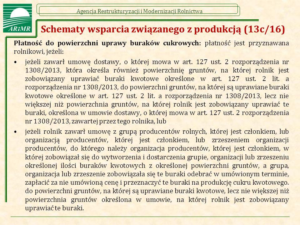 Agencja Restrukturyzacji i Modernizacji Rolnictwa Schematy wsparcia związanego z produkcją (13c/16) Płatność do powierzchni uprawy buraków cukrowych: płatność jest przyznawana rolnikowi, jeżeli: jeżeli zawarł umowę dostawy, o której mowa w art.