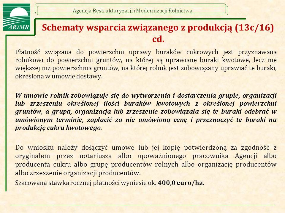 Agencja Restrukturyzacji i Modernizacji Rolnictwa Schematy wsparcia związanego z produkcją (13c/16) cd. Płatność związana do powierzchni uprawy burakó