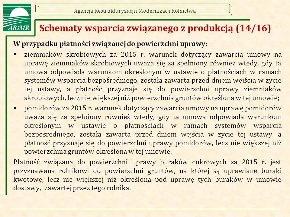 Agencja Restrukturyzacji i Modernizacji Rolnictwa Schematy wsparcia związanego z produkcją (14/16) W przypadku płatności związanej do powierzchni uprawy:  ziemniaków skrobiowych za 2015 r.