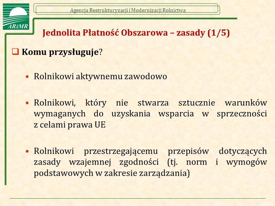 Agencja Restrukturyzacji i Modernizacji Rolnictwa Jednolita Płatność Obszarowa – zasady (2/5)  Do czego przysługuje .