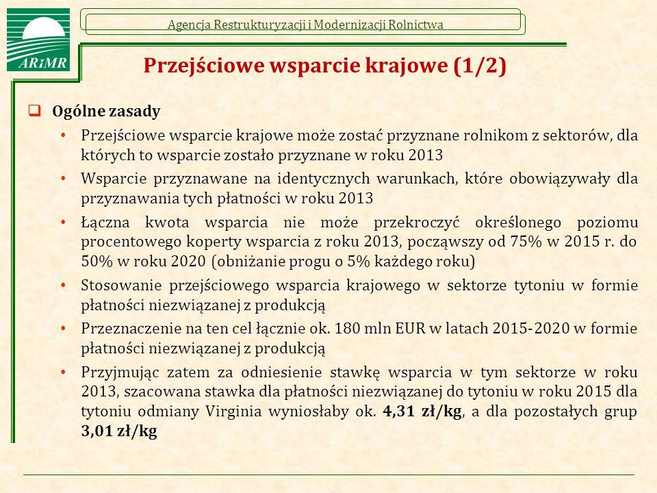Agencja Restrukturyzacji i Modernizacji Rolnictwa Przejściowe wsparcie krajowe (1/2)  Ogólne zasady Przejściowe wsparcie krajowe może zostać przyznane rolnikom z sektorów, dla których to wsparcie zostało przyznane w roku 2013 Wsparcie przyznawane na identycznych warunkach, które obowiązywały dla przyznawania tych płatności w roku 2013 Łączna kwota wsparcia nie może przekroczyć określonego poziomu procentowego koperty wsparcia z roku 2013, począwszy od 75% w 2015 r.