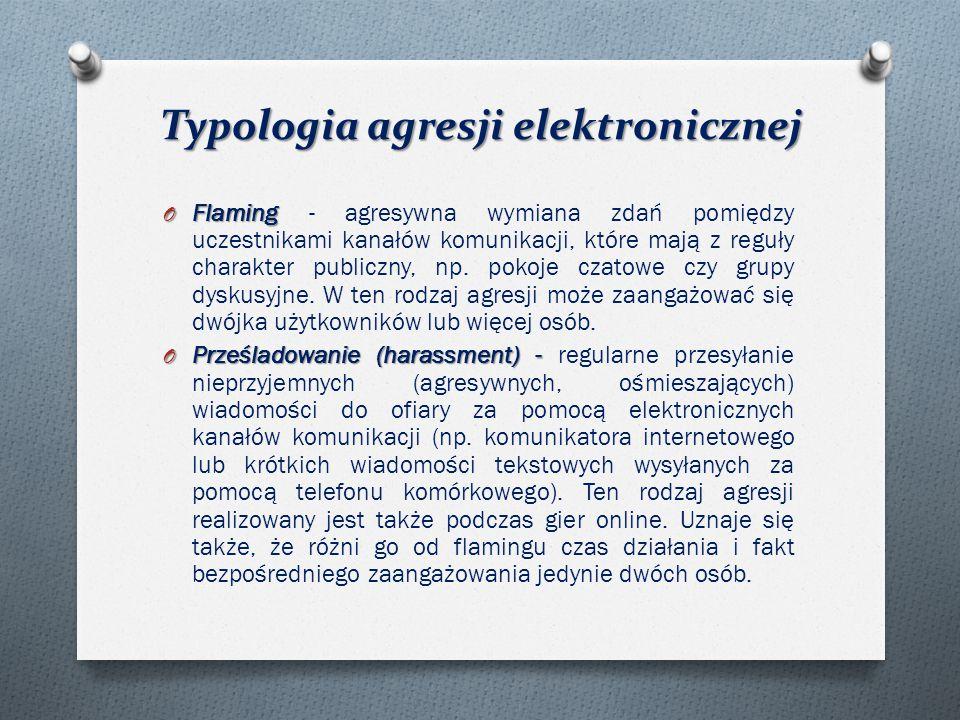 Typologia agresji elektronicznej O Flaming O Flaming - agresywna wymiana zdań pomiędzy uczestnikami kanałów komunikacji, które mają z reguły charakter publiczny, np.