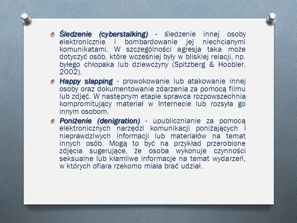 O Śledzenie (cyberstalking) O Śledzenie (cyberstalking) - śledzenie innej osoby elektronicznie i bombardowanie jej niechcianymi komunikatami.