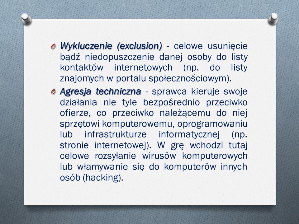 O Wykluczenie (exclusion) O Wykluczenie (exclusion) - celowe usunięcie bądź niedopuszczenie danej osoby do listy kontaktów internetowych (np.