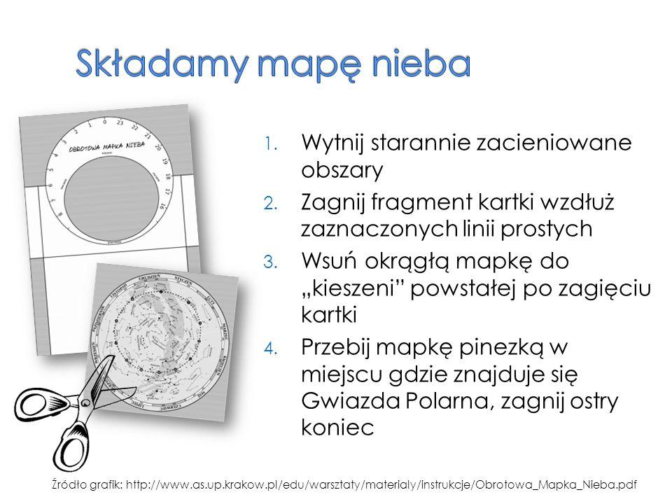 """1. Wytnij starannie zacieniowane obszary 2. Zagnij fragment kartki wzdłuż zaznaczonych linii prostych 3. Wsuń okrągłą mapkę do """"kieszeni"""" powstałej po"""