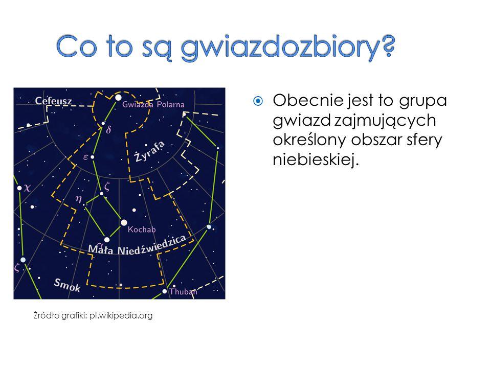  Obecnie jest to grupa gwiazd zajmujących określony obszar sfery niebieskiej. Źródło grafiki: pl.wikipedia.org