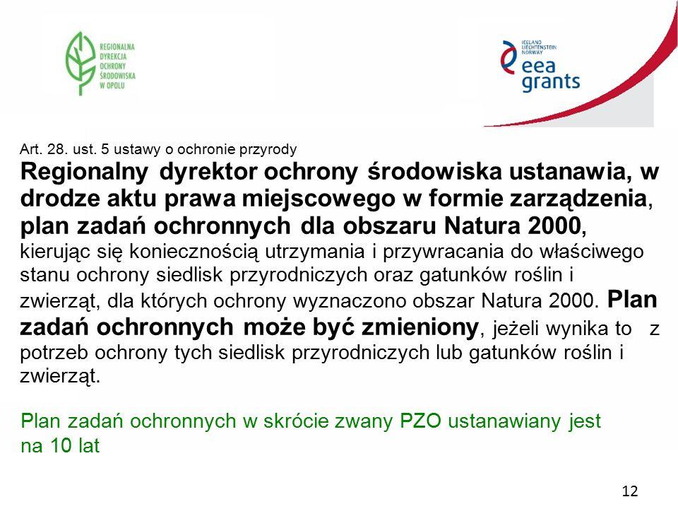 12 Art. 28. ust. 5 ustawy o ochronie przyrody Regionalny dyrektor ochrony środowiska ustanawia, w drodze aktu prawa miejscowego w formie zarządzenia,