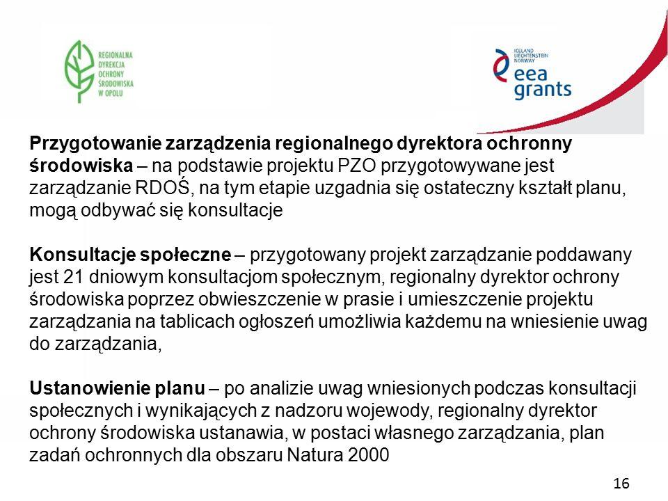 16 Przygotowanie zarządzenia regionalnego dyrektora ochronny środowiska – na podstawie projektu PZO przygotowywane jest zarządzanie RDOŚ, na tym etapi