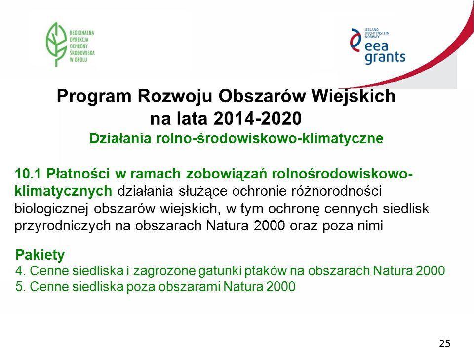 25 Program Rozwoju Obszarów Wiejskich na lata 2014-2020 Działania rolno-środowiskowo-klimatyczne 10.1 Płatności w ramach zobowiązań rolnośrodowiskowo-