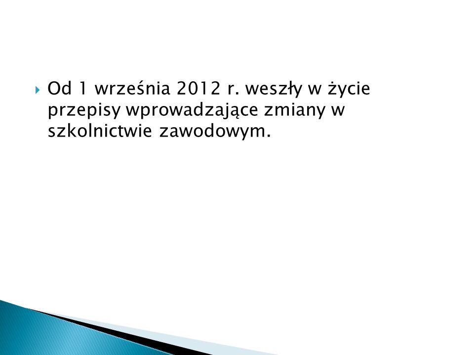  Od 1 września 2012 r. weszły w życie przepisy wprowadzające zmiany w szkolnictwie zawodowym.