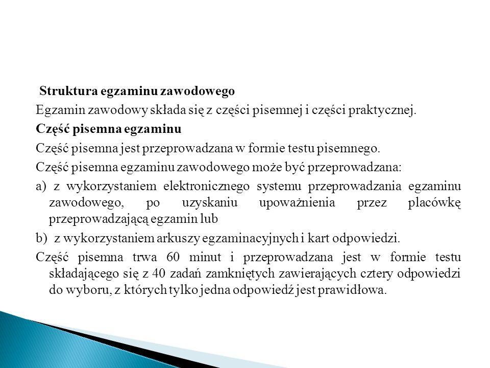 Struktura egzaminu zawodowego Egzamin zawodowy składa się z części pisemnej i części praktycznej.