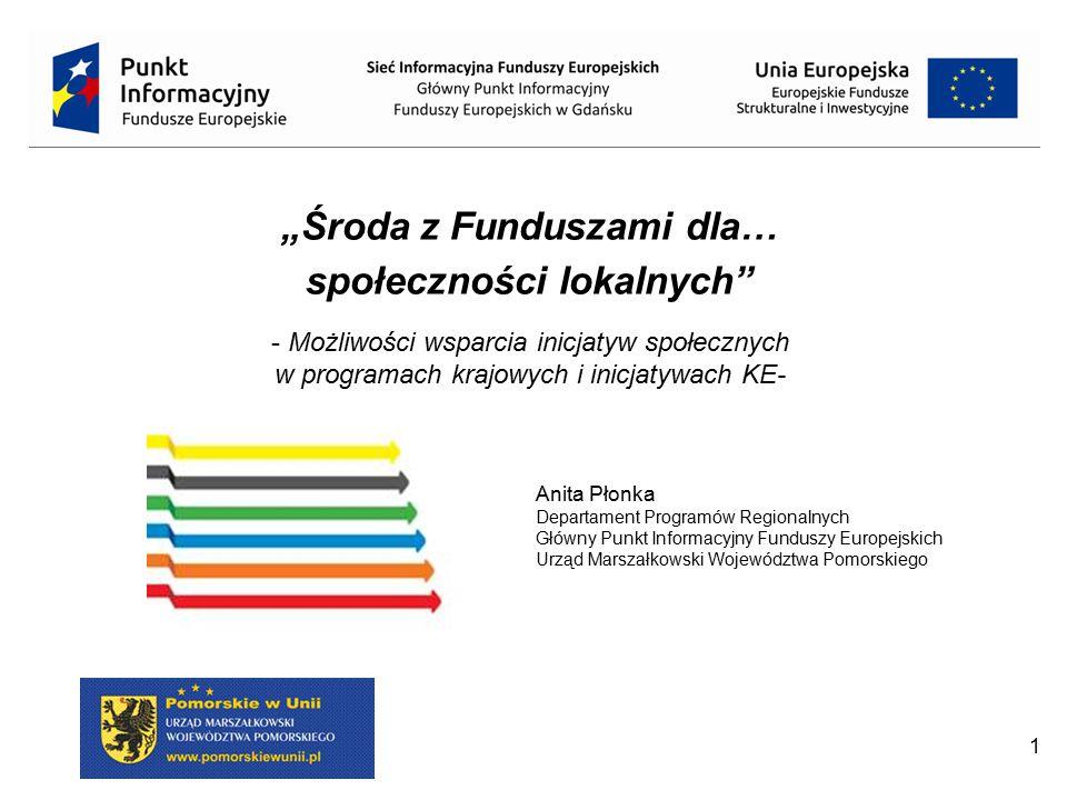 """1 Anita Płonka Departament Programów Regionalnych Główny Punkt Informacyjny Funduszy Europejskich Urząd Marszałkowski Województwa Pomorskiego """"Środa z"""