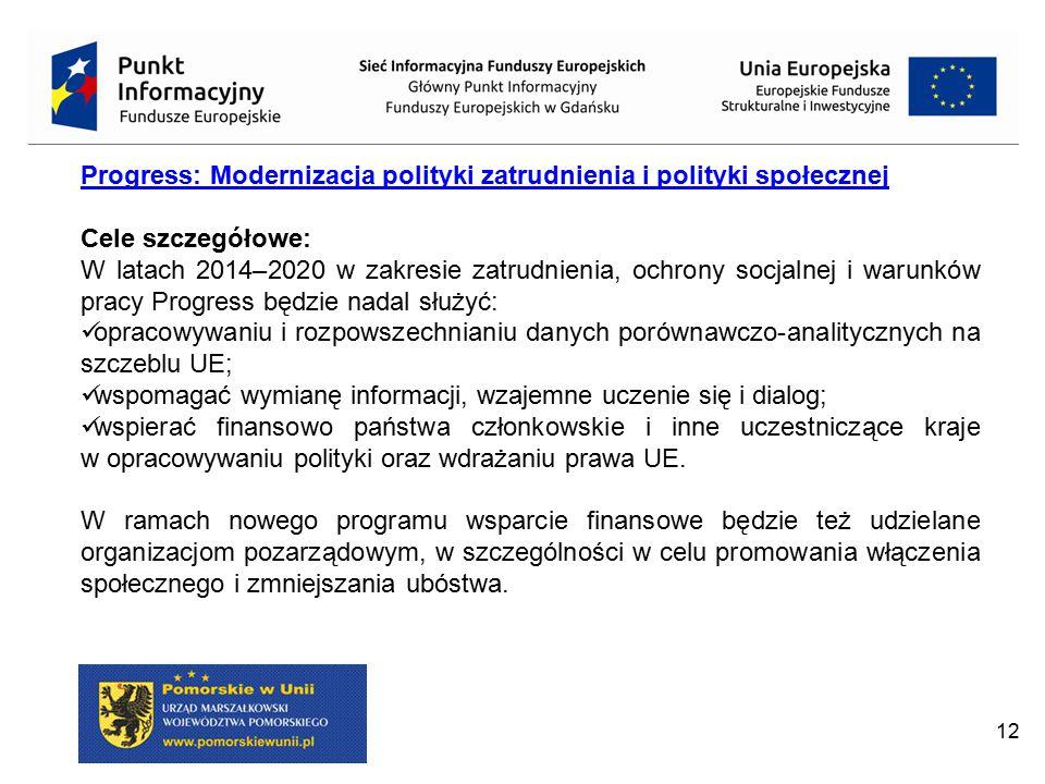 12 Progress: Modernizacja polityki zatrudnienia i polityki społecznej Cele szczegółowe: W latach 2014–2020 w zakresie zatrudnienia, ochrony socjalnej