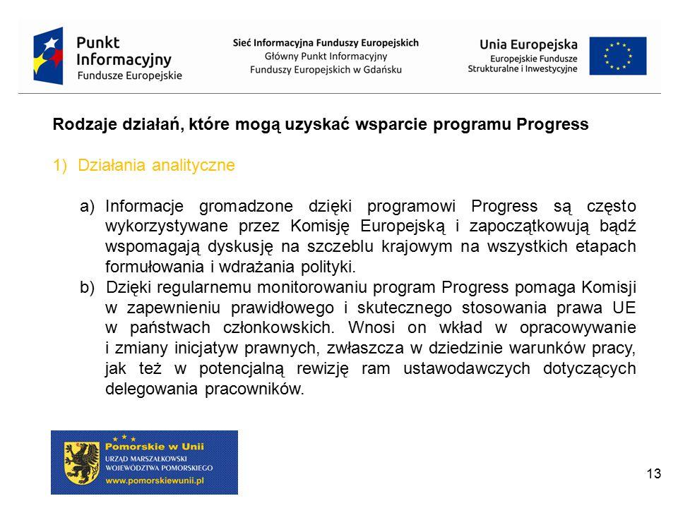 13 Rodzaje działań, które mogą uzyskać wsparcie programu Progress 1)Działania analityczne a)Informacje gromadzone dzięki programowi Progress są często