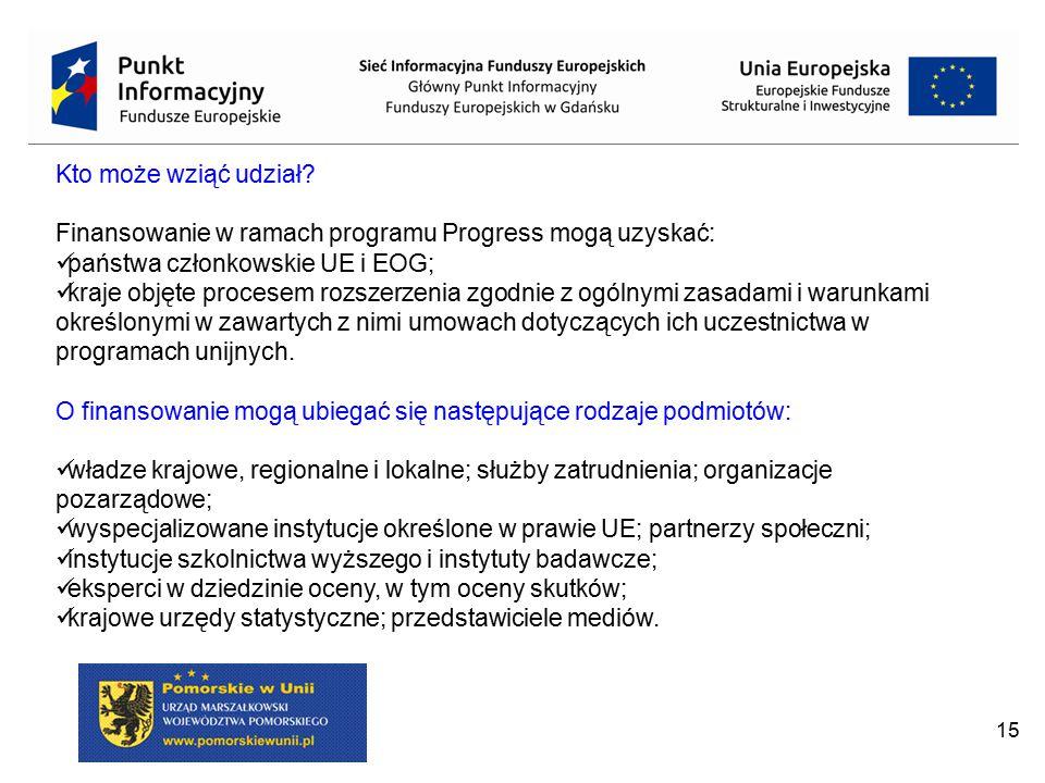 15 Kto może wziąć udział? Finansowanie w ramach programu Progress mogą uzyskać: państwa członkowskie UE i EOG; kraje objęte procesem rozszerzenia zgod