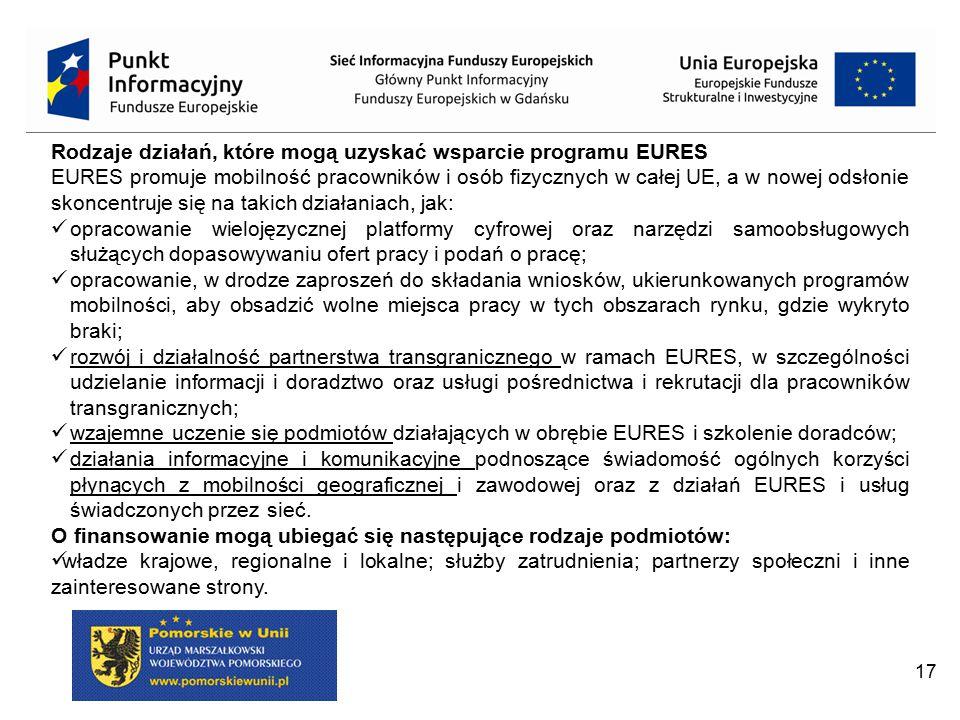 17 Rodzaje działań, które mogą uzyskać wsparcie programu EURES EURES promuje mobilność pracowników i osób fizycznych w całej UE, a w nowej odsłonie sk