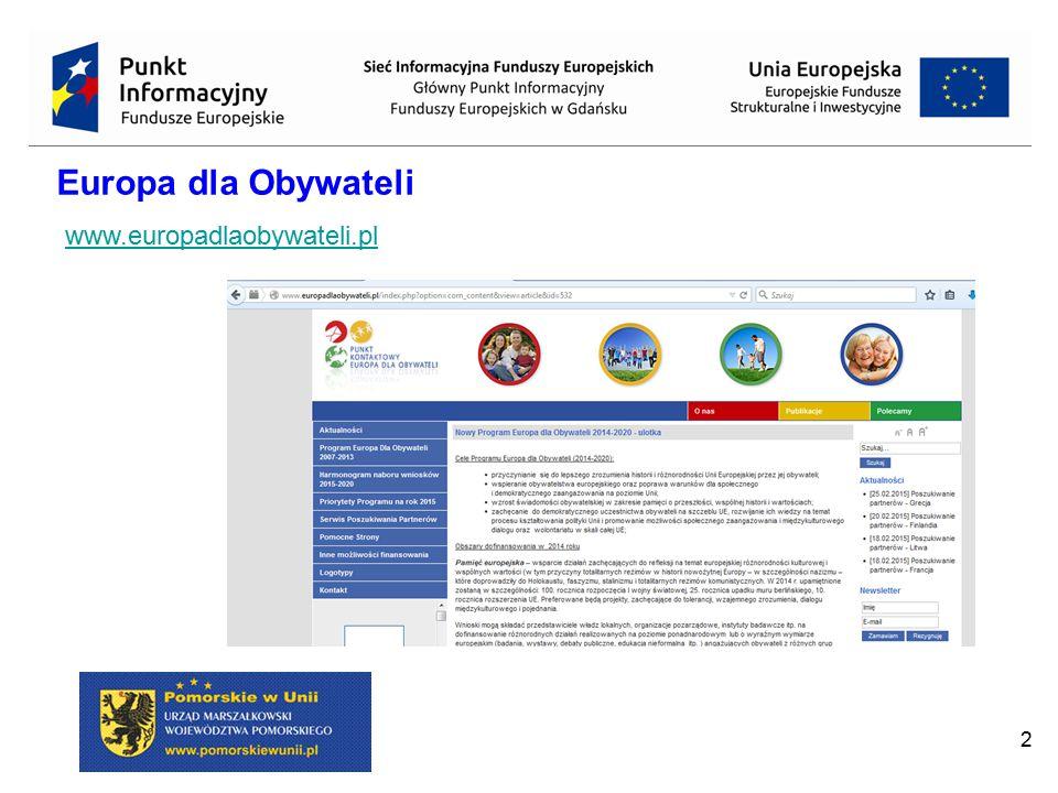 2 Europa dla Obywateli www.europadlaobywateli.pl