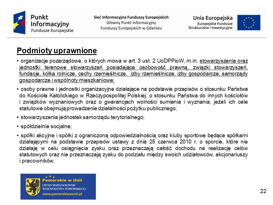 22 Podmioty uprawnione organizacje pozarządowe, o których mowa w art. 3 ust. 2 UoDPPioW, m.in. stowarzyszenia oraz jednostki terenowe stowarzyszeń pos