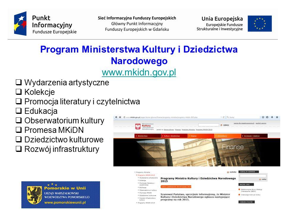 28 Program Ministerstwa Kultury i Dziedzictwa Narodowego www.mkidn.gov.pl  Wydarzenia artystyczne  Kolekcje  Promocja literatury i czytelnictwa  E