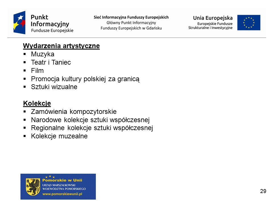 29 Wydarzenia artystyczne  Muzyka  Teatr i Taniec  Film  Promocja kultury polskiej za granicą  Sztuki wizualne Kolekcje  Zamówienia kompozytorsk